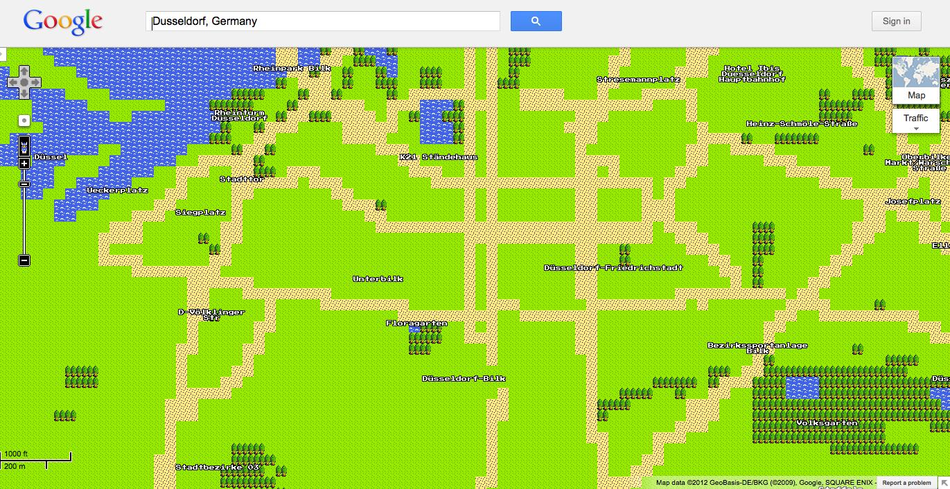 Düsseldorf Bilk in 8bit – GoogleMaps goes Retro