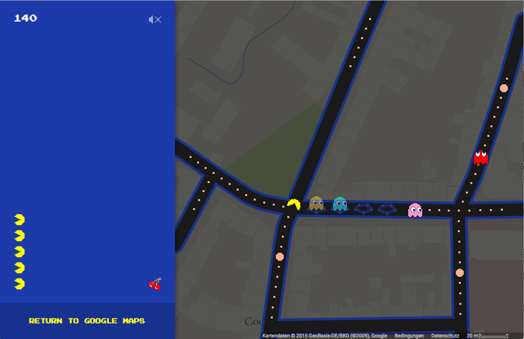 Pac-Man zocken in GoogleMaps!