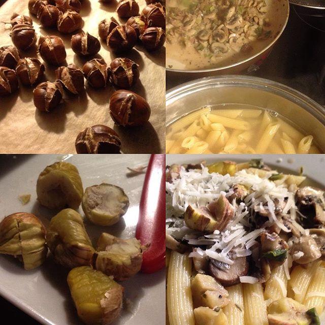 Frische Maronen, verschiedene Pilze und dazu Pasta... fehlt nur noch ein leckerer Wein dazu :-)