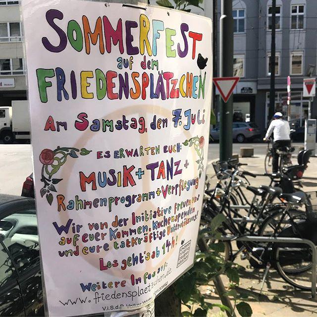 Sommerfest auf dem Friedensplätzchen am kommenden Samstag.