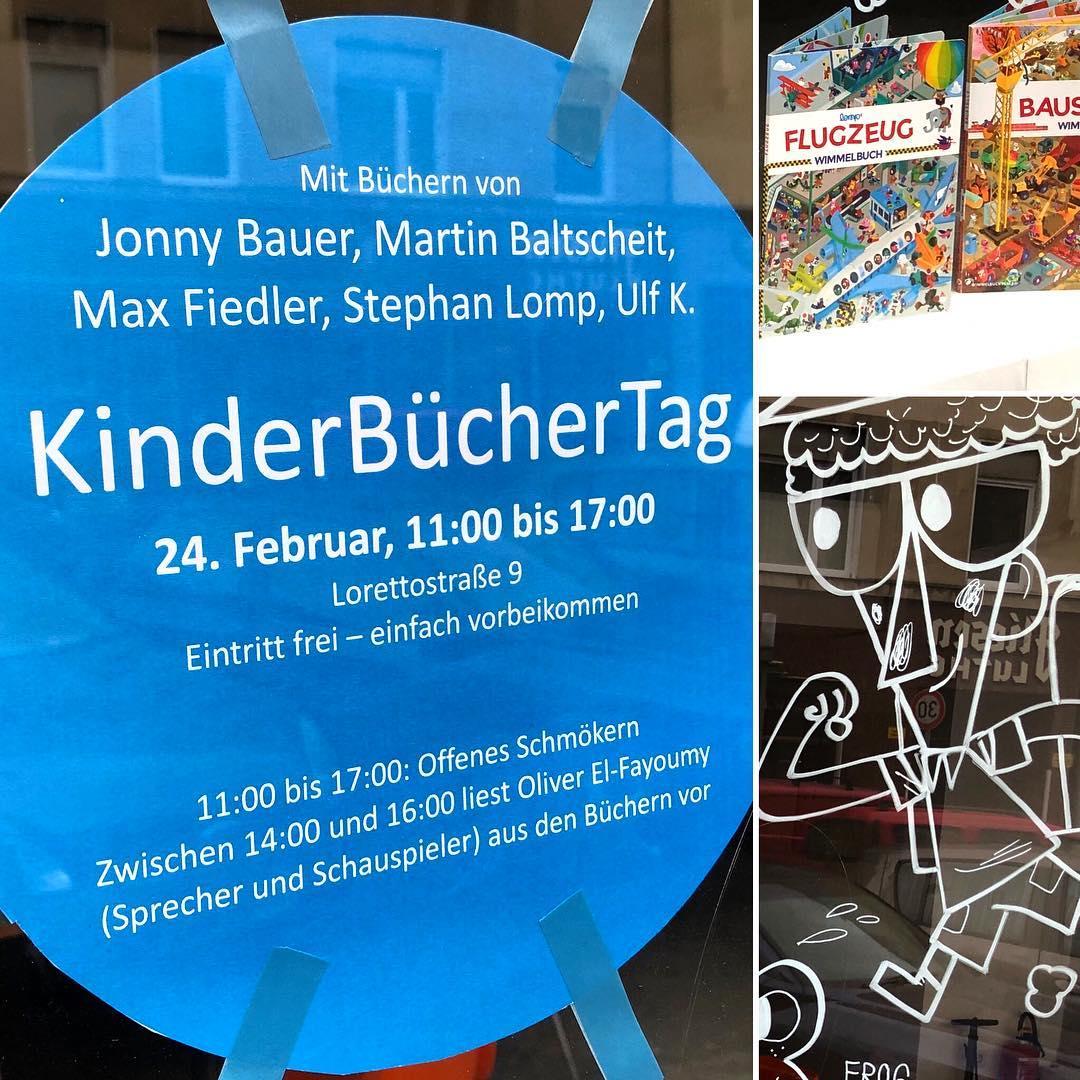 Bald ist KinderBücherTag (und zwar am 24. Februar) in der Lorettostraße 9. Wer mag kann sich beim schmökern inspirieren lassen – aber auch zur Lesung von Oliver El-Fayoumy kommen. Also, wer noch auf der Suche nach neuem Vorlesematerial für die Kids ist, der sollte am Sonntag zur Lorettostraße kommen